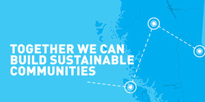 Together we can build sustainable communities map illustration