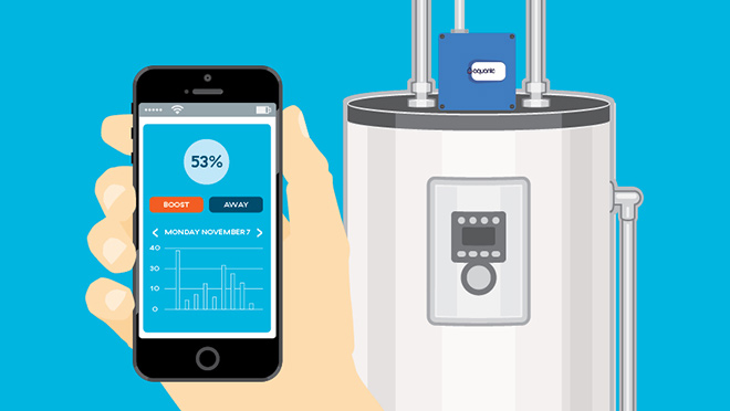 Illustration showing a smart phone app and smart hot water heater