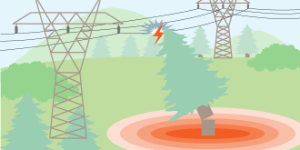 tree falling on transmission line