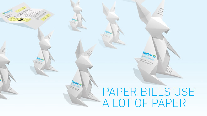 Go Paperless, Paper bills use a lot of paper, origami bunnies