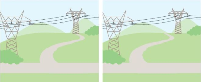 Illustration shows the wrong and right ways to design a path under transmission lines.