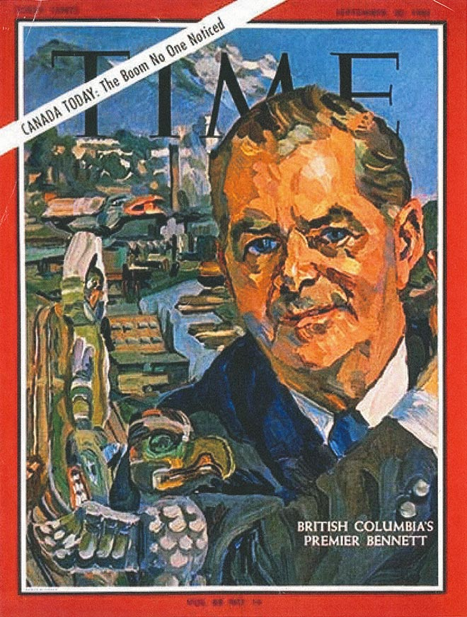 Image of historic Time Magazine cover featuring Premier W.A.C. Bennett