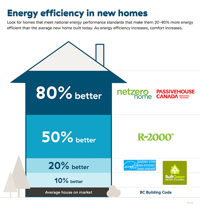 Energy efficient home performance level graphic