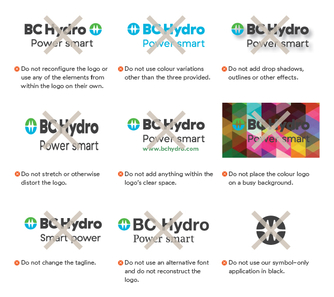 Examples of improper use of BC Hydro logo