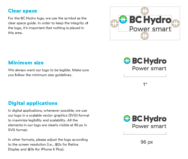 BC Hydro logo spacing and sizes