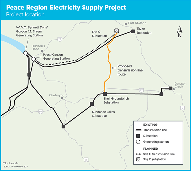 Peace Region Electricity Supply Project map