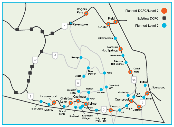 Map of plans for Accelerate Kootenays electric vehicle charging network