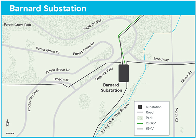 Barnard substation map