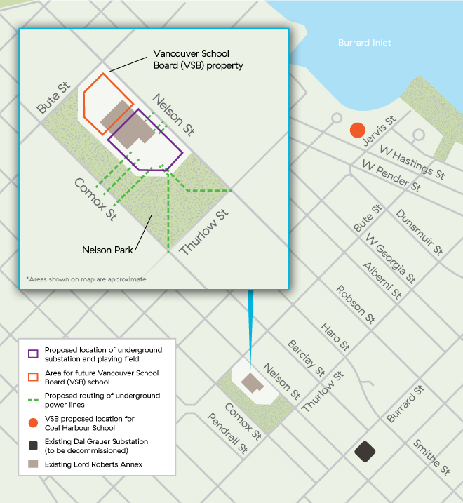 Map of details involving the West End Substation Project
