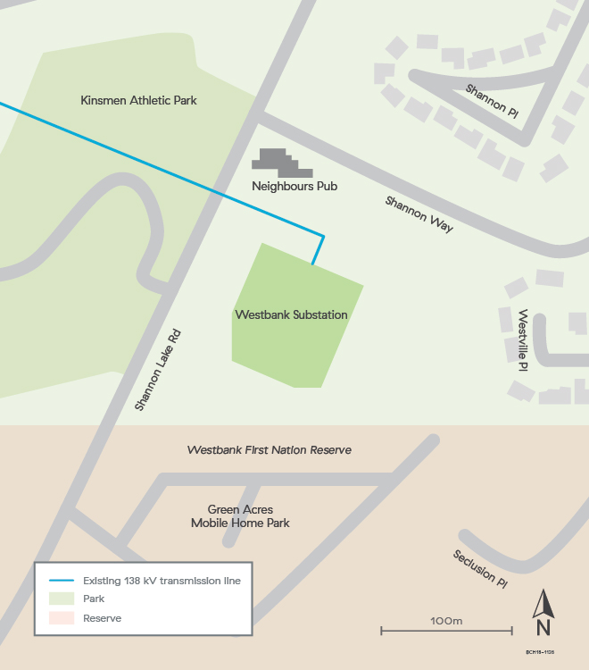 Map of the Westbank Substation Upgrade Project