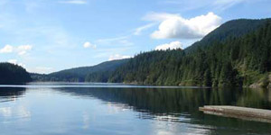 View from beach at Buntzen Lake Reservoir