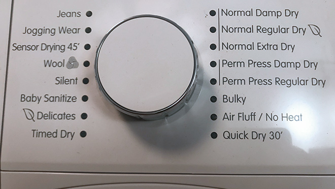 Image of the settings on a ventless heat pump dryer
