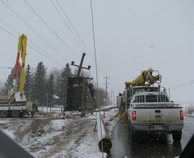 Broken power pole near Vanderhoof