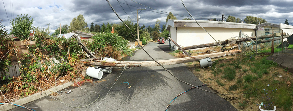 Downed power line panoramic image
