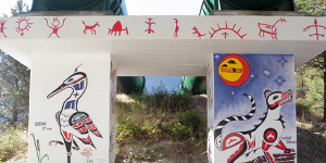 First Nations artwork beautifying Bridge River generation facility.