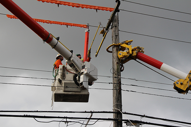 BC Hydro crews working on annual pole replacement