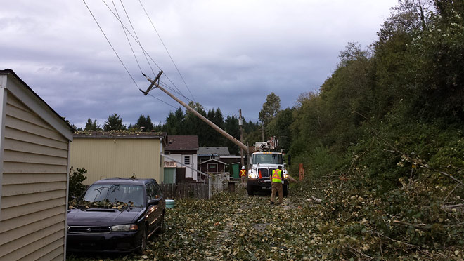 Image of BC Hydro crew repairing downed power line