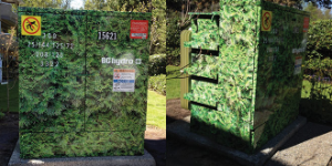 Decorative wraps on BC Hydro kiosks