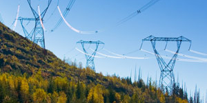 Transmission lines on a hill