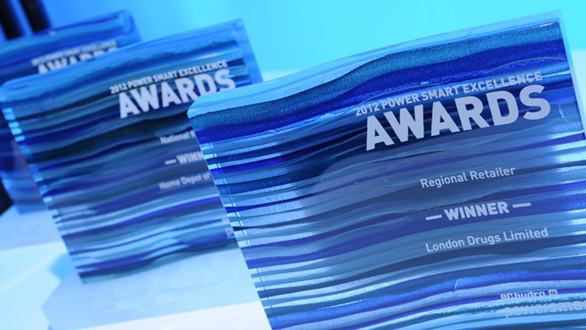 Image of 2012 Power Smart Excellence Awards trophies