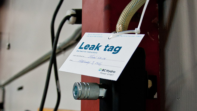 Image of a leak tag in use