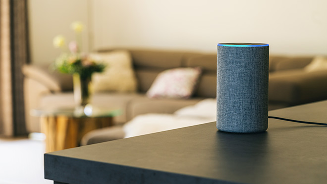 Image of an Amazon Echo smart home device in a home living room