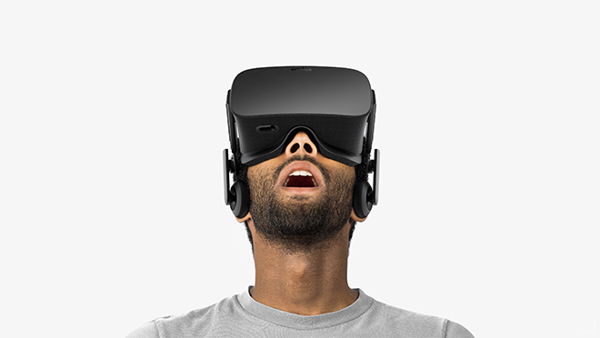 Image of a man wearing an Oculus Rift headset