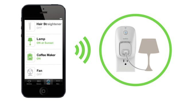 Illustration showing how the WeMo smart phone app works