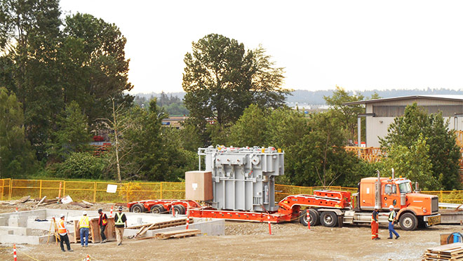 Image of a new transformer for the Big Bend Substation