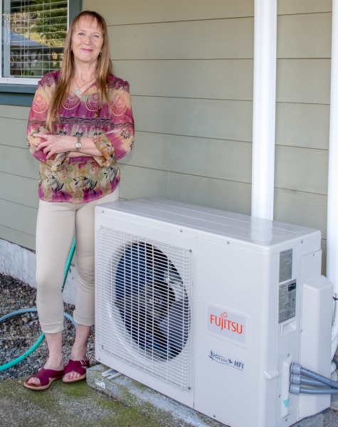 Langford woman with heat pump
