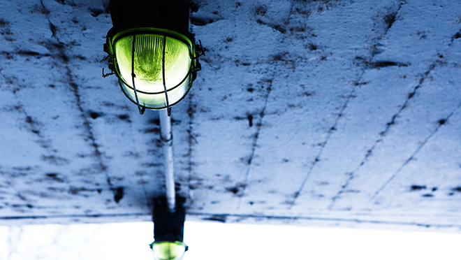 Image of dirty light and concrete ceiling