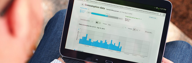 reading MyHydro consumption data on a tablet