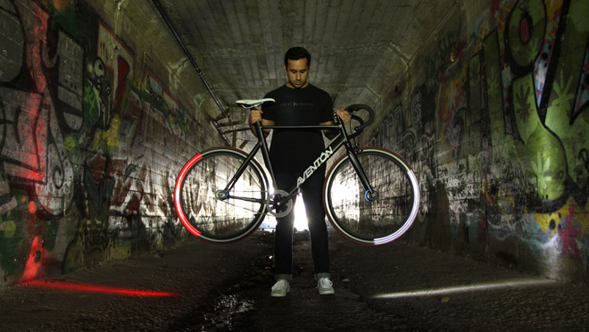 Image of bicycle with illuminated Revolights in a tunnel