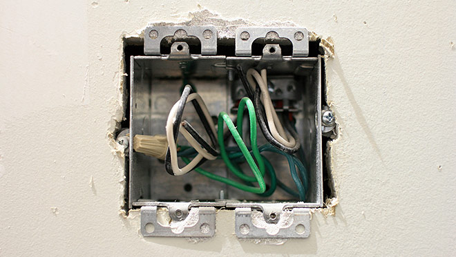 Image of light switch box and wires