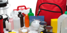 This is a photo of a variety of Emergency Supplies isolated on a white background.Click on the links below to view lightboxes.