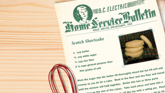 Image of B.C. Electric Scotch Shortcake recipe, 2013 Power Pioneers holiday card