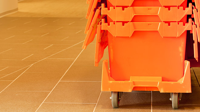 Image of orange moving crates