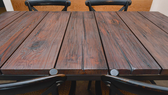 Image of table made from reclaimed wood