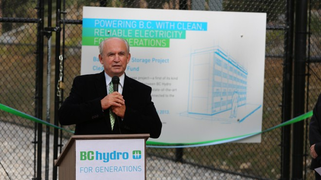 Bill Bennett at the grand opening of the Battery Energy Storage project in Field