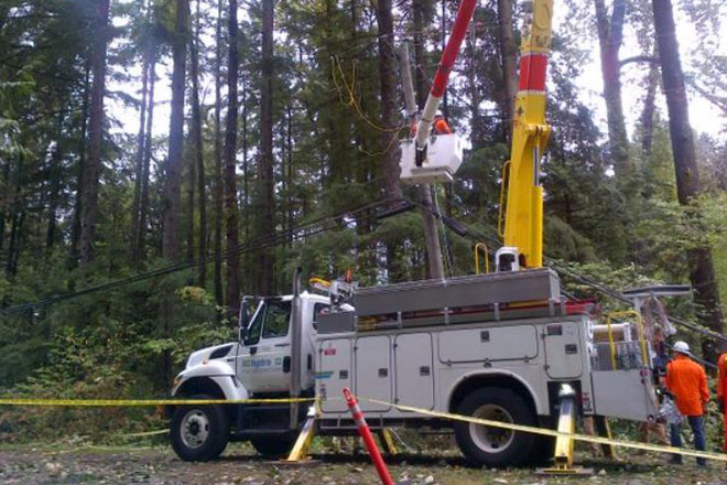 Image of BC Hydro crews working following the August 29, 2015 windstorm