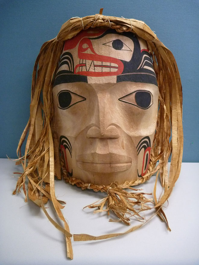 Haisla Nation mask presented to BC Hydro as recognition of power restoration work.