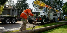 Worker replacing a power pole