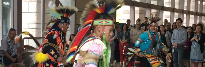 Dancers in lobby of BC Hydro main office in Vancouver on the 2017 National Aboriginal Day