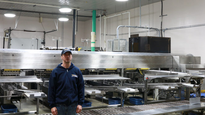 Image of worker in upgraded Burnbrae Farms facility