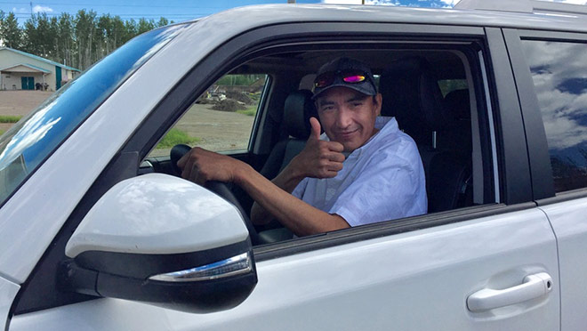 Elvis Metecheah, driver training at Halfway River First Nation
