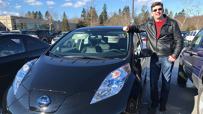 Image of Iain Black with Nissan Leaf