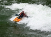 Karla Robinson kayaking down the Puntledge River