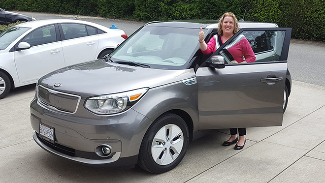 Image of Kia Soul EV and Hazel Rempel