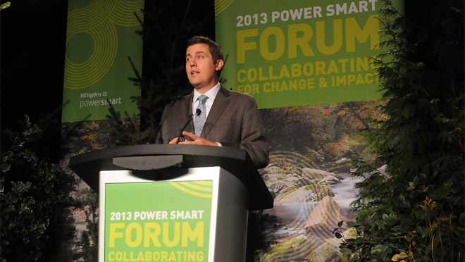 SustainAbility executive director Mark Lee delivers his keynote address at the 2013 Power Smart Forum