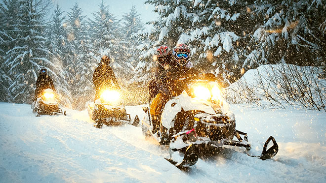 Image of snowmobilers near Whistler, B.C.